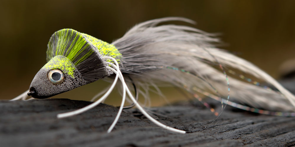 Grey & Chartreuse Deer-hair Diver, tied by Kim Maki