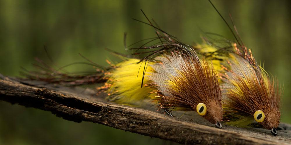 Brown and Yellow Deer-hair Divers, tied by Magnus Nygren