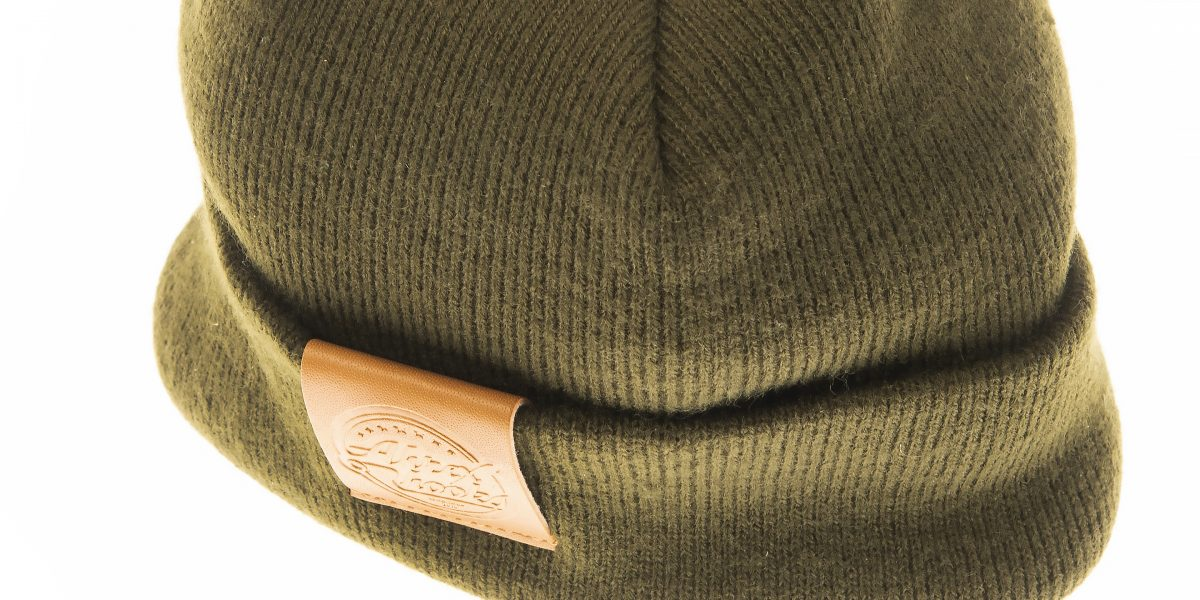Ahrex Tight Knit Leather Patch Beanie - Loden-01